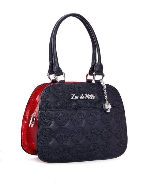 Skull and Roses Tote Black Matte with Venom Red Sparkle