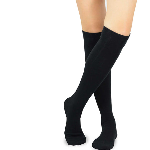 Black Solid Plain Knee High Women's Socks