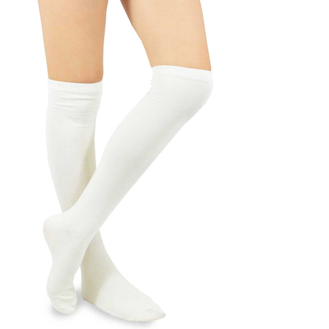 Ivory White Solid Plain Knee High Women's Socks