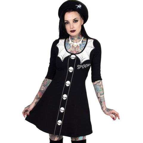 Spooky Girl Flare 3/4 Sleeve Dress