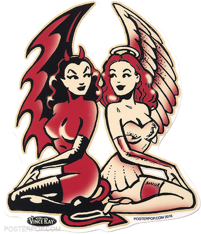 Vince Ray Angel Twins Sticker