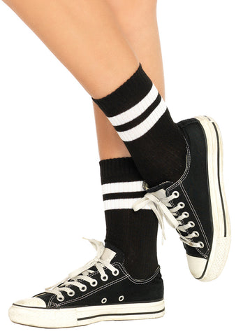 Athletic Striped Anklet Socks – Black/White