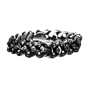 Skull Brushed Oxidized Bracelet