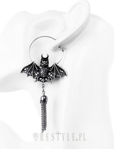 Oriental Bat Silver Hoop Earrings, Occult