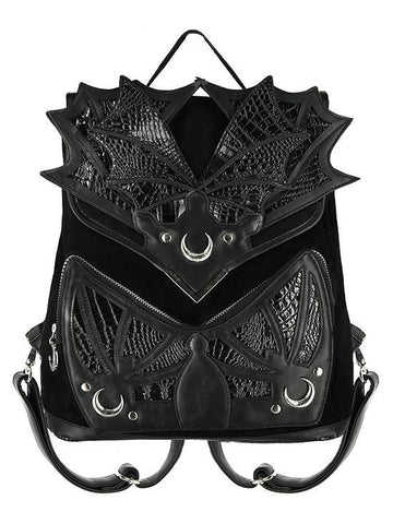 Black Phantom Gothic Backpack with Dragon Wings