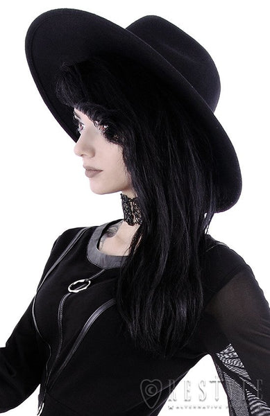 Black Gothic Wide Brim Hat