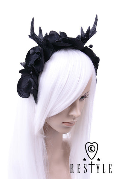 Gothic Garland, Headpiece with Deer Antlers & Orchids