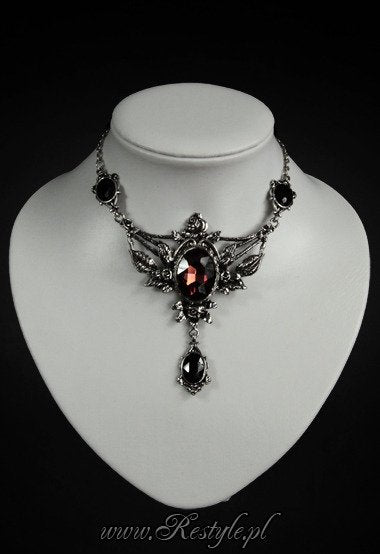 Wild Roses Evening Necklace with Roses and Burgundy Stone