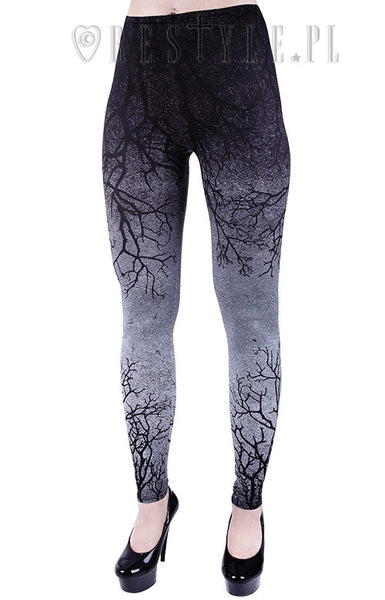 Gray Branches Ombre Leggings