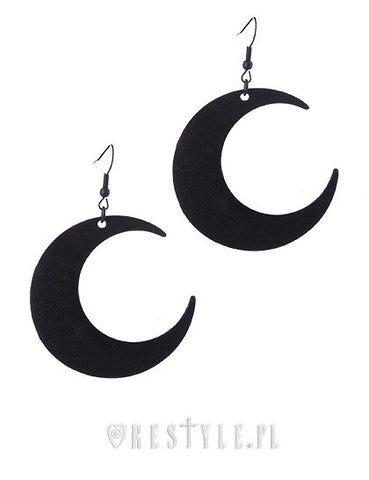 Moon Black Earrings Gothic Earrings, Crescent, Occult Fashion