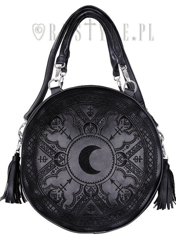 Henna Black Round Bag Moon Embroidery Handbag