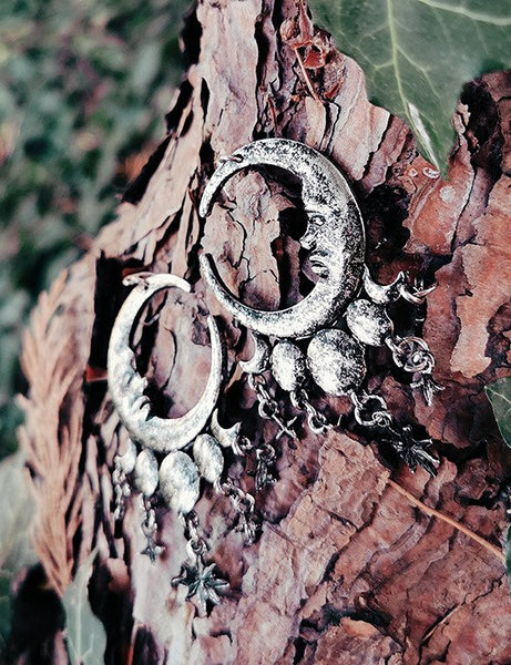 Sleepless Nights Silver Moon Earrings