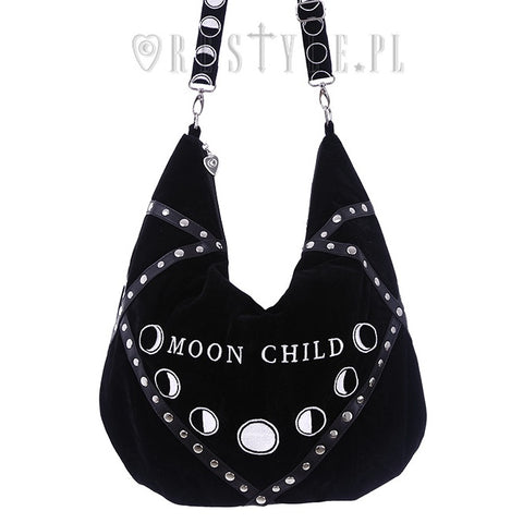 Moon Child Black Velvet Hobo Bag