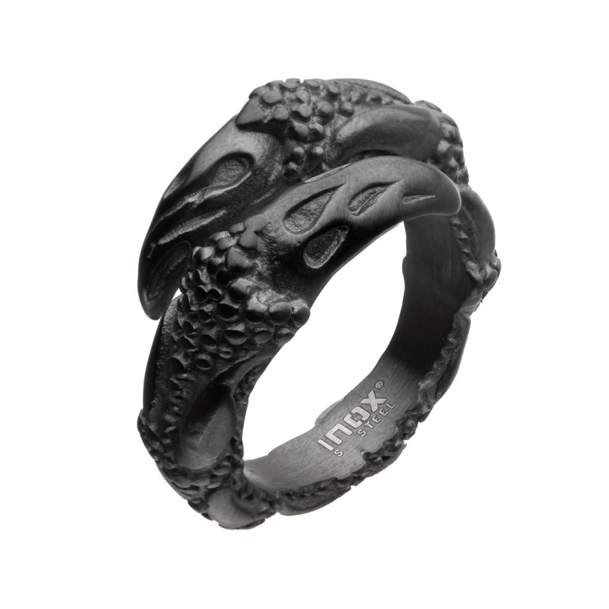 Steel & Black Plated Oxidized Claw Ring