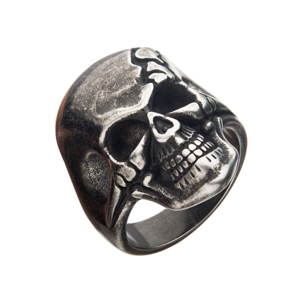 Antiqued Stainless Steel Cracked Skull Ring
