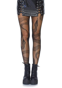 Snake Fishnet Tights