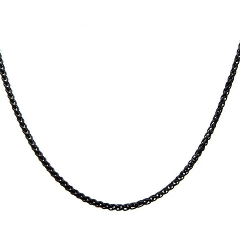 2.7mm Black Plated Round Wheat Chain