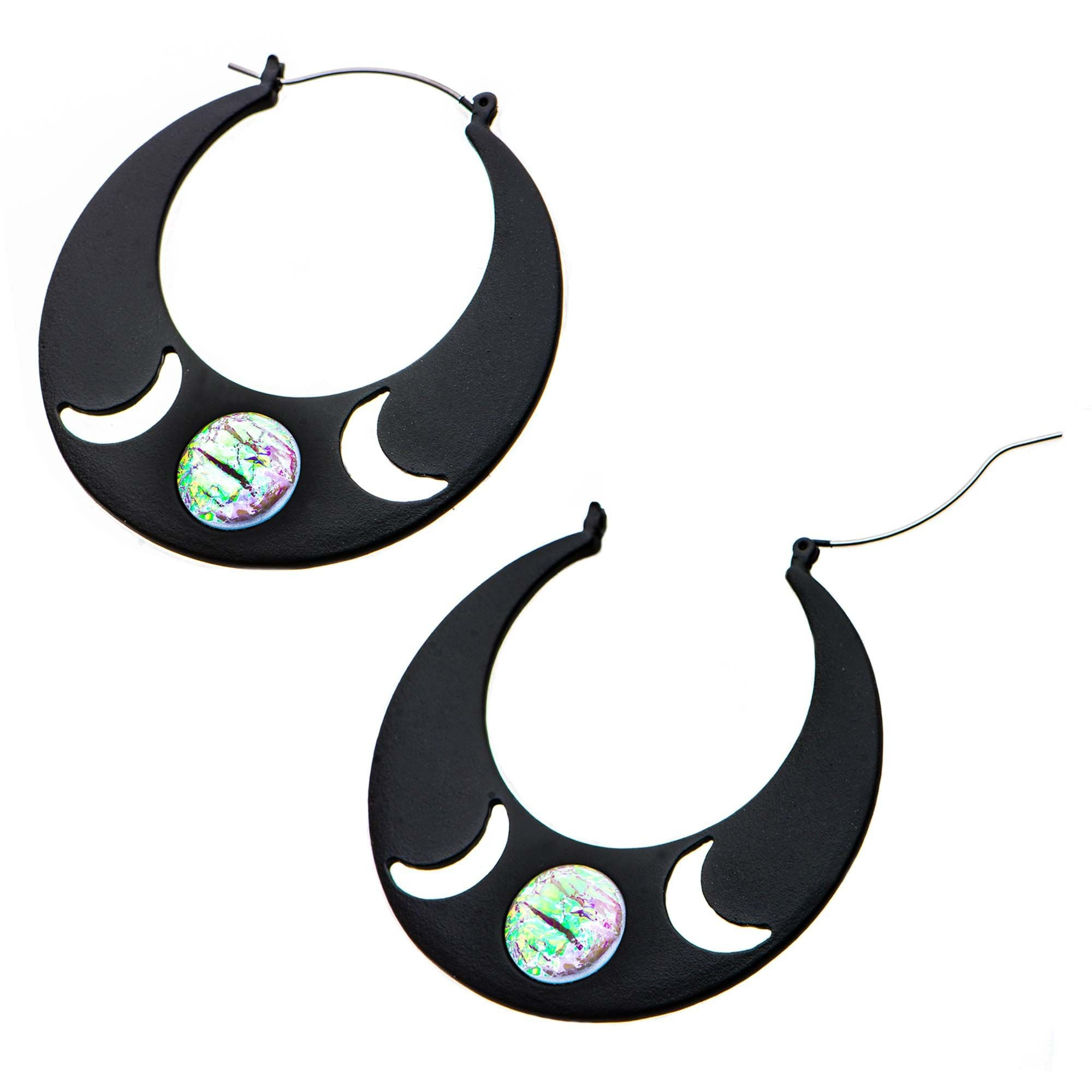 Cut-Out Moon Plug Hoops
