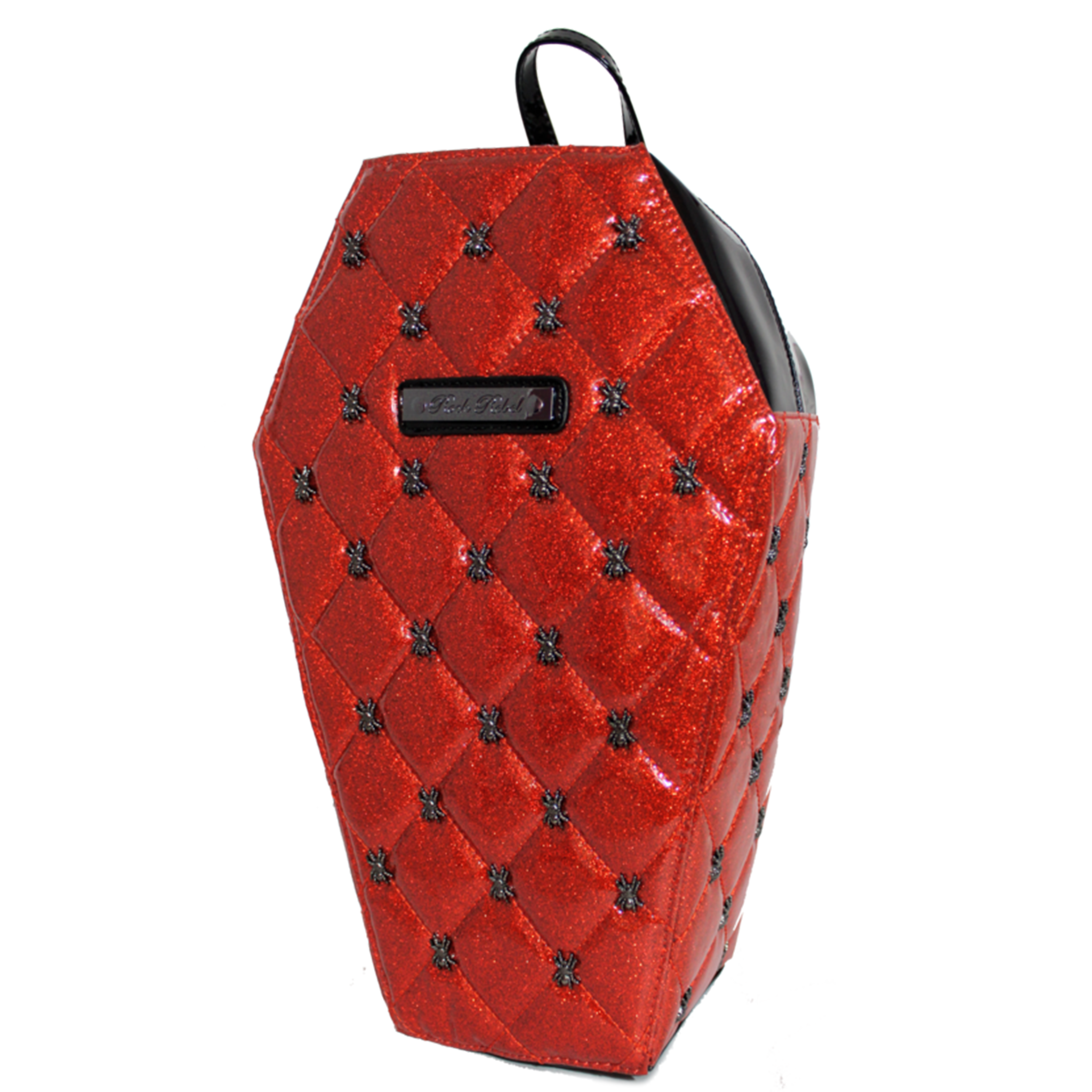 Lucy Quilted Coffin Backpack in Red