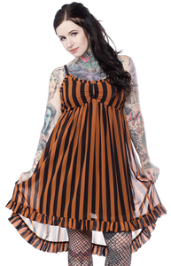 Striped Hi-Lo Dolly Dress - Nutmeg And Black