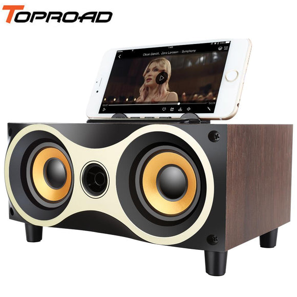 TOPROAD Wooden Wireless Bluetooth Speaker Subwoofer Stero Support FM Radio AUX U-disk MP3 with MIC