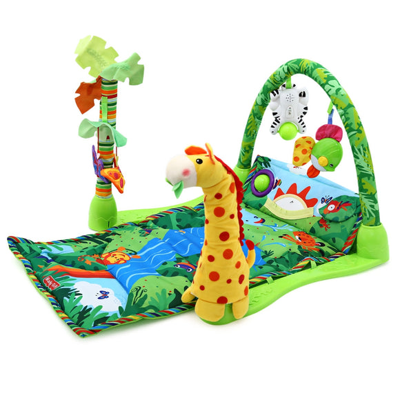 Baby Forest Gym Music Game Blanket Fitness Rack Floor Crawl Play Mat Cushion for Kids - ziloqa