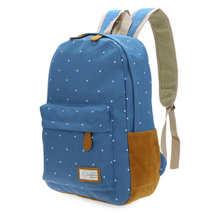Dot Patchwork Canvas Slide Buckle Travel Portable Backpack for Women - ziloqa