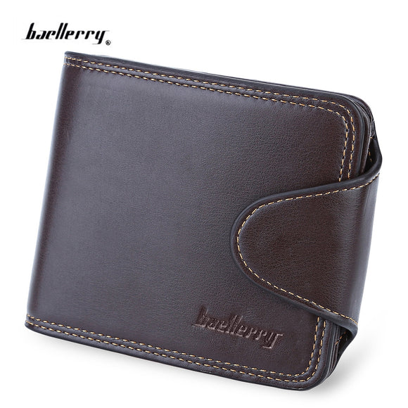 Baellerry Thread Solid Color Horizontal Cash Coin Photo Card Wallet for Men