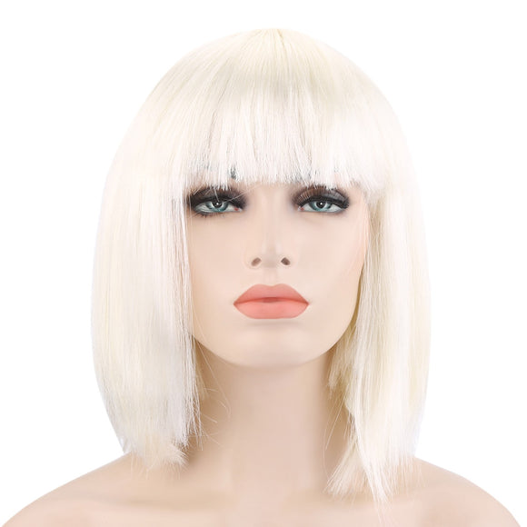 Bob Full Bangs Short Straight Off-white Wigs for Street Shooting Cosplay Masquerade - ziloqa