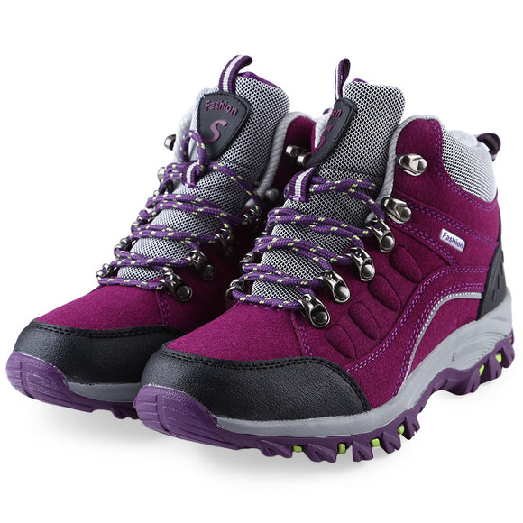 Casual Outdoor Block Color Lace Up Ladies Hiking Sports Shoes - ziloqa