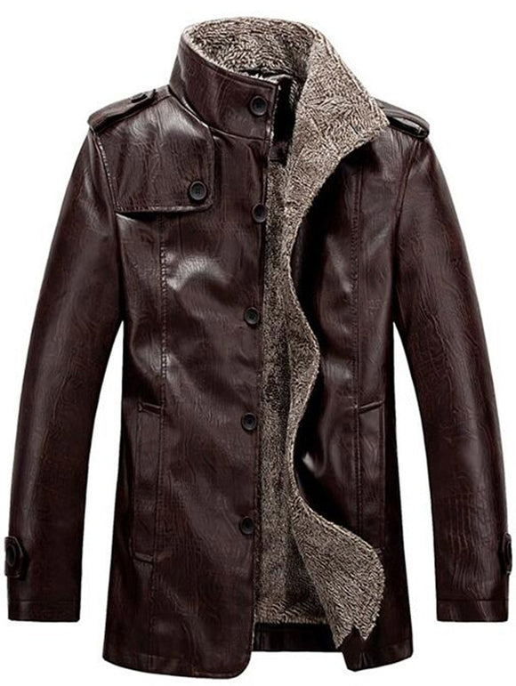 Stand Collar Flocking Single Breasted PU-Leather Jacket - ziloqa