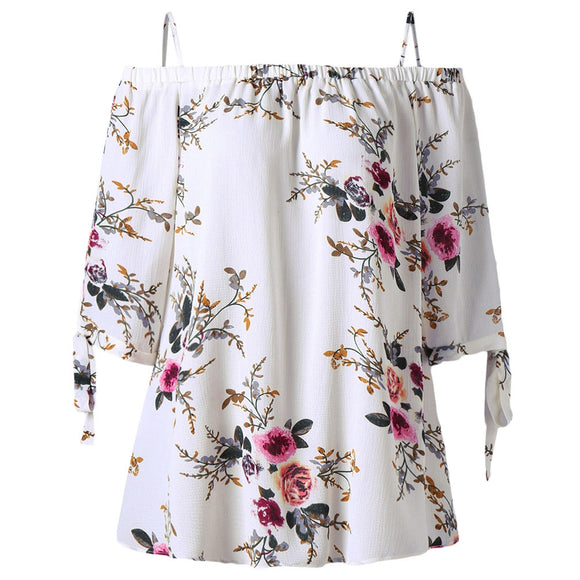 Plus Size Floral Cold Shoulder Blouse - ziloqa