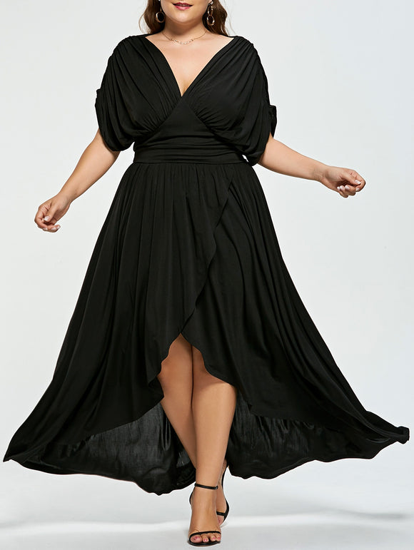 Plus Size Empire Wasit High Low Prom Dress - ziloqa