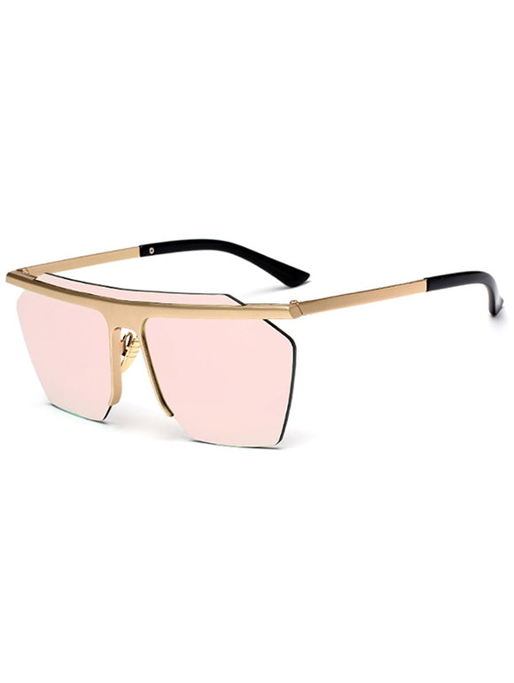 Semi Rimless Metallic Pilot Mirror Sunglasses - ziloqa