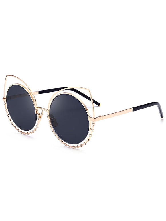 Metal Rhinestone Cat Eye Sunglasses