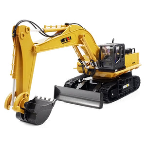 HUINA TOYS 1510 1:16 2.4GHz 11CH RC Alloy Excavator RTR Mechanical Sound / 680-degree Rotation / Movable Stick Boom Bucket - ziloqa