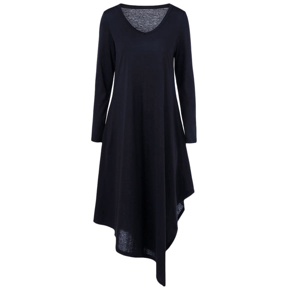 Asymmetrical Long Sleeved Tee Shirt Maxi Dress - ziloqa