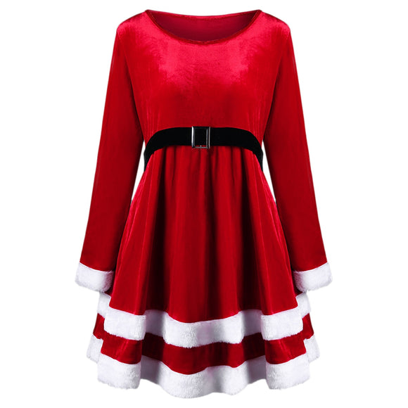 Christmas Plus Size Velvet Long Sleeve Dress - ziloqa