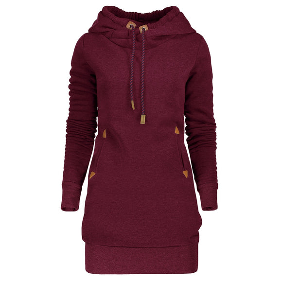 Tunic Hoodie Dress with Pocket and Drawstring - ziloqa