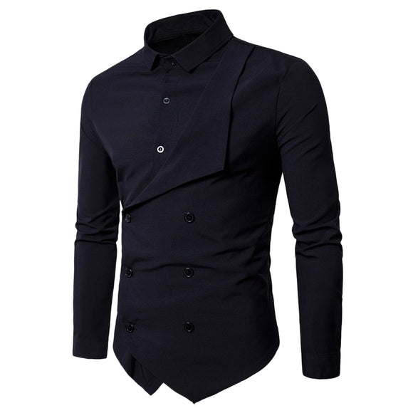 Double Breasted Long Sleeve Layered Shirt - ziloqa