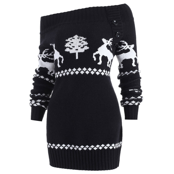 Off The Shoulder Reindeer Knit Tunic Sweater - ziloqa