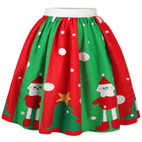 Christmas Snowman Tree Polka Dot Print Skirt