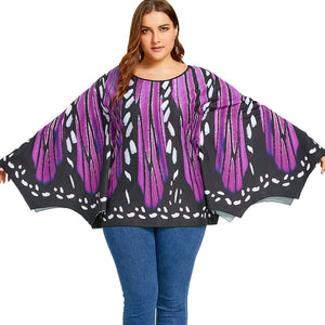 Plus Size Butterfly Print Batwing Top