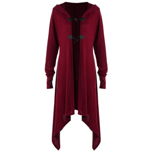 Plus Size Thumb Hole Hooded Coat - ziloqa