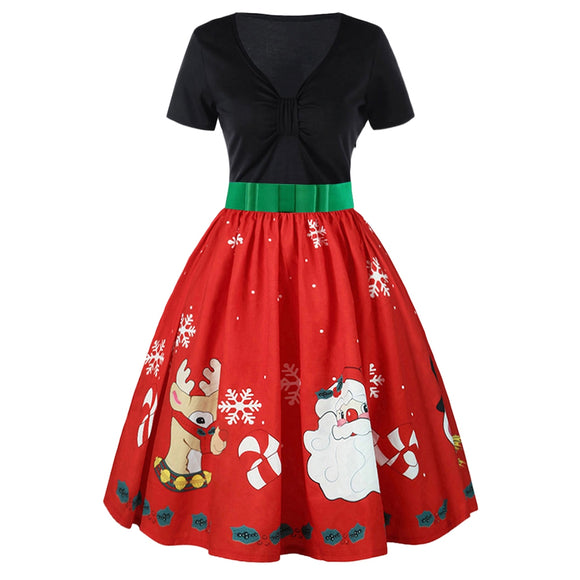 Short Sleeve Christmas Print Belted Vintage Dress - ziloqa