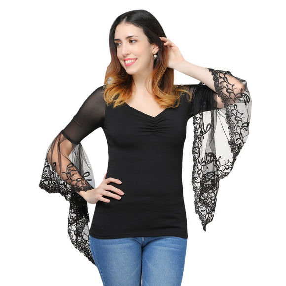 V Neck Bell Sleeve Sheer Lace Panel T-Shirt - ziloqa