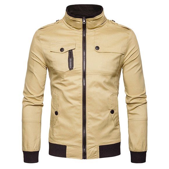 Epaulet Design Pockets Zip Up Cargo Jacket - ziloqa