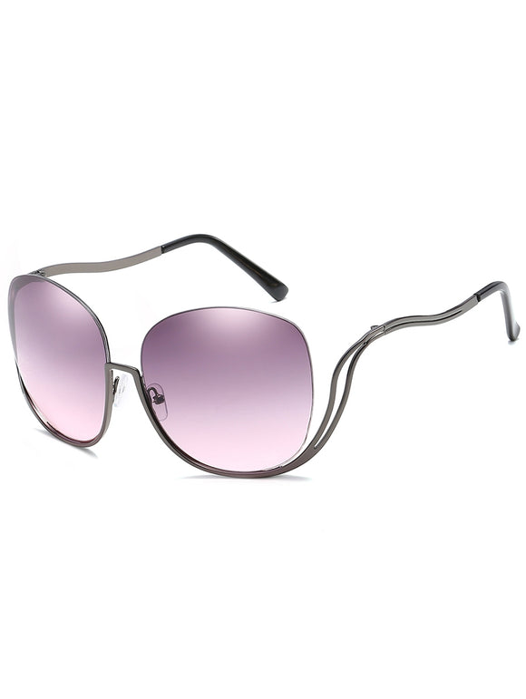 Half Frame Oversized Sunglasses with Curved Legs