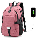Men Casual Travel Canvas Backpack with USB Charge Port - ziloqa