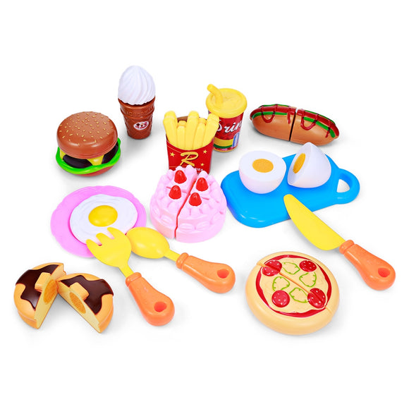 Kids Household Playset Simulation Kitchen Colorful Toy with Stickers - ziloqa